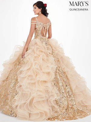 Cold Shoulder Mary's Quinceanera Ball Gown Design Gold Color Dress