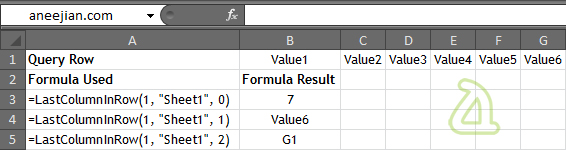 Example usage of excel function to get Last Column in a row