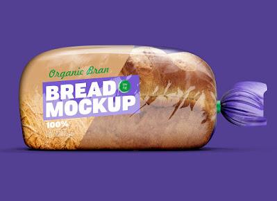 Mockup kemasan plastik roti