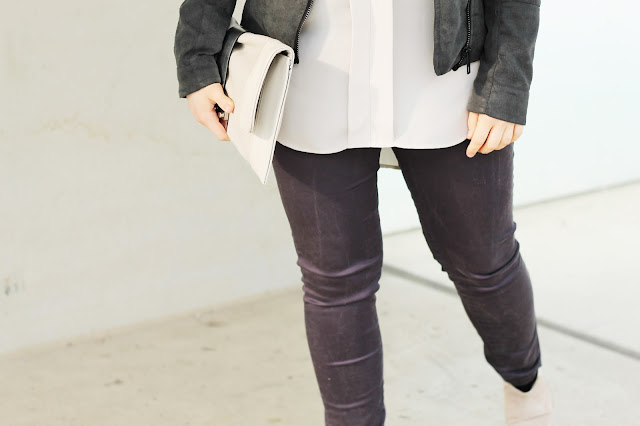 light nudes and dark greys outfit