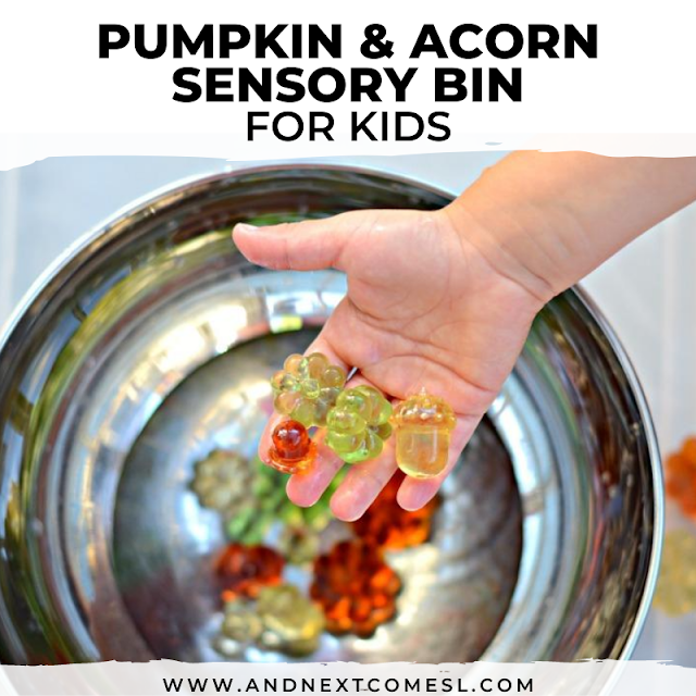 Simple pumpkin & acorn sensory bin with water for preschoolers and toddlers
