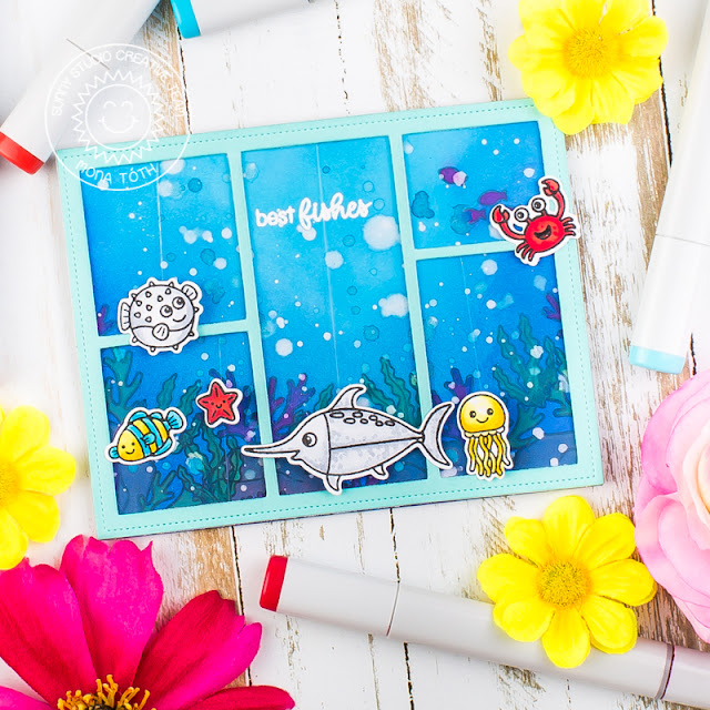 Sunny Studio Stamps: Best Fishes Magical Mermaids Comic Strip Everyday Dies Punny Ocean Themed Card by Mona Toth