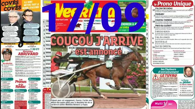 Pronostic quinté+ pmu vendredi Paris-Turf TV-100 % 17/09/2021