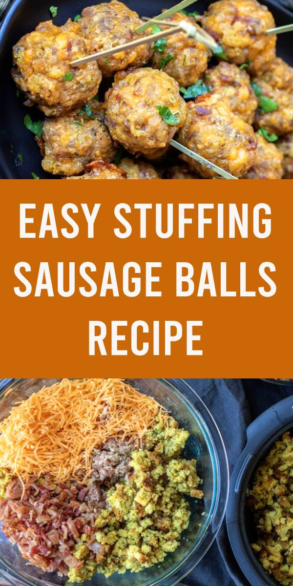 These easy Stuffing Sausage Balls are a delicious holiday twist on the traditional sausage ball using stuffing instead of the usual biscuit mix. Sausage, stuffing, and cheese, and rolled together for the perfect appetizer for Thanksgiving or Holiday! #thanksgiving #appetizer #partyfood #sausage #stuffingrecipe
