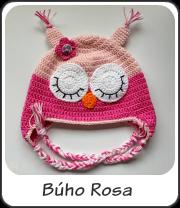 Gorro búho rosa a crochet