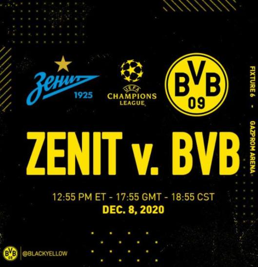 Zenit vs Dortmund Champions League Match 2020/21