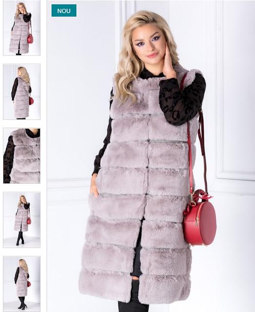 Vesta gri lunga de dama eleganta fara maneci din blanita ieftina