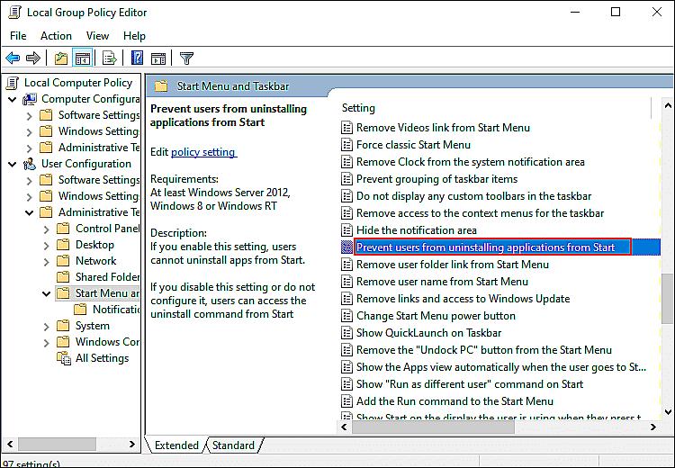 كيف منع المستخدمين من إلغاء تثبيت التطبيقات من قائمة ابدأ في ويندوز