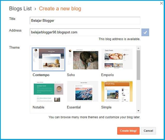 daftar blog dengan menu create blog