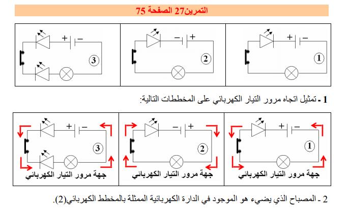 حل تمرين 27 صفحة 75 فيزياء للسنة الأولى متوسط الجيل الثاني