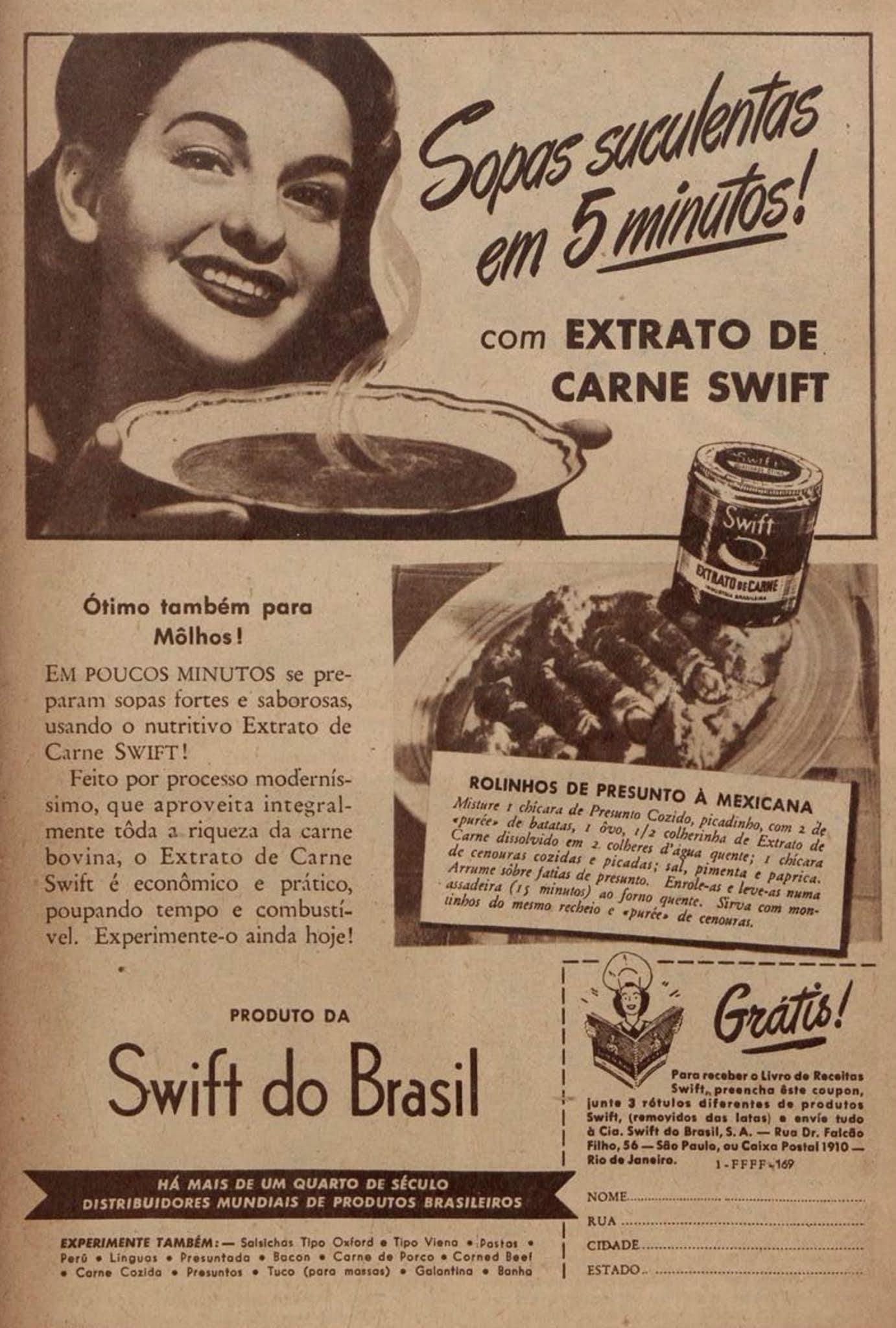 Anúncio da Swift promovendo o Extrato de Carne em lata no ano de 1945