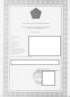 Gambar Piagam Ijin Operasional untuk VerVal SP di EMIS