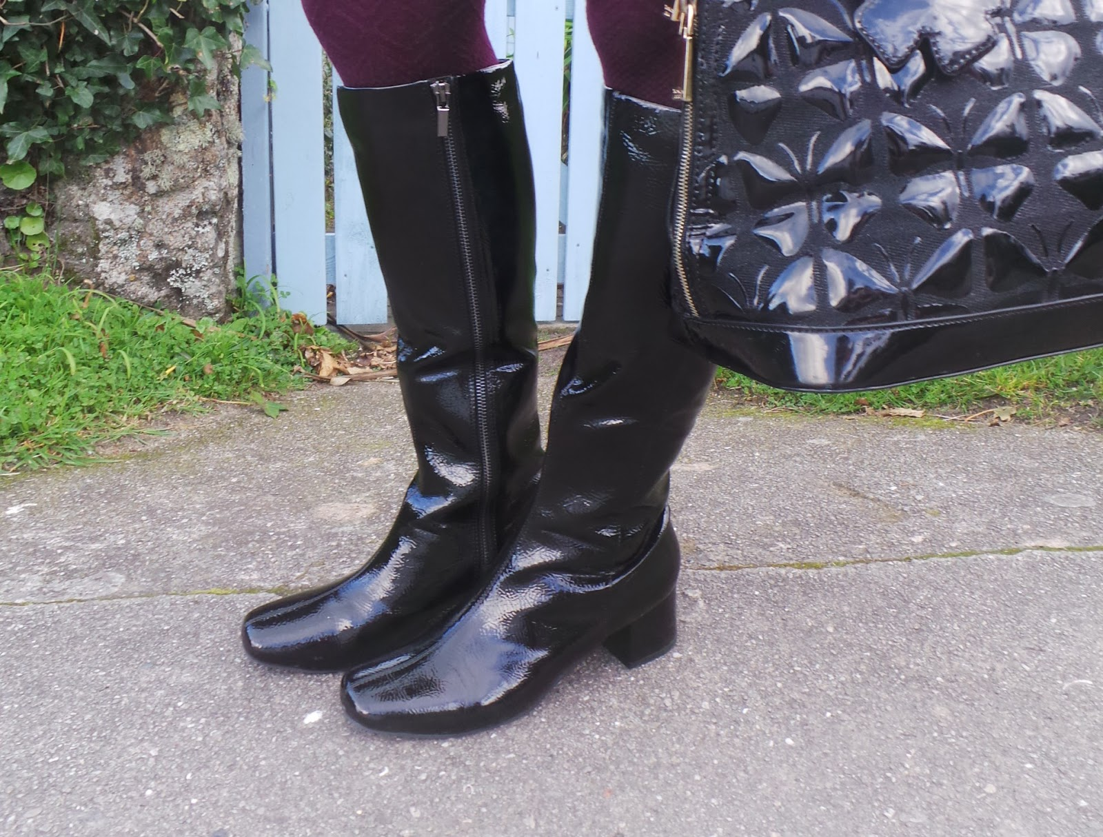 Image showing a close up of the black patent boots worn by Anna Parkes for the 5 Over 50 Challenge These Boots were Made for Walking