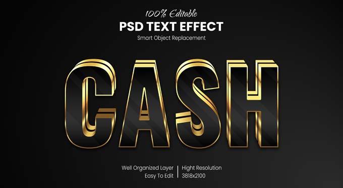 Cash Gold Text Effect PSD Mockup