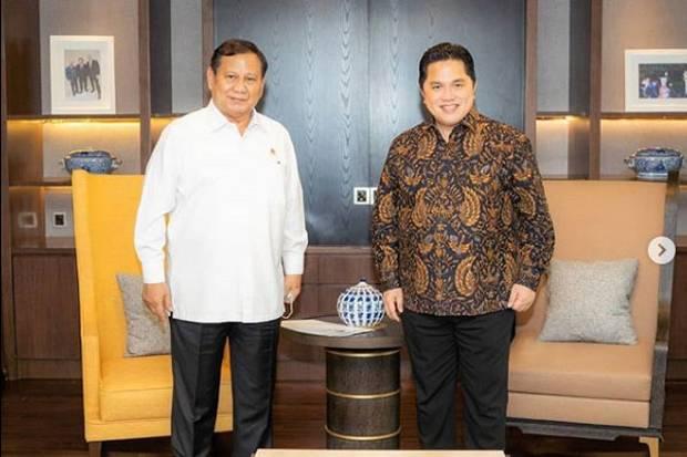 Netizen Jodohkan Prabowo-Erick Thohir di Pilpres 2024