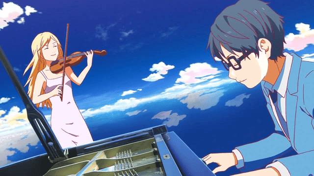 Semangat Kousei kembali membara ketika melihat Kaori bermain biola
