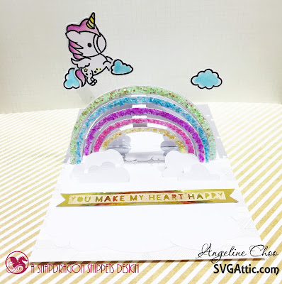 SVG Attic: Rainbow Unicorn Card with Angeline #svgattic #scrappyscrappy #psd #svg #diecut #cutfile #card #papercraft #rainbow #unicorn #unitystamp #stamp #coloring #copic