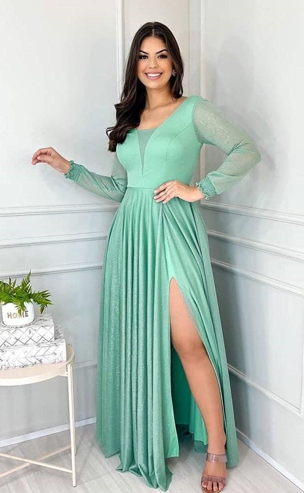 vestido longo-verde menta com mangas longas