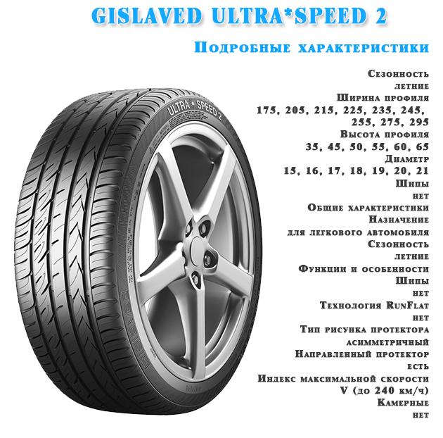 Характеристика шин GISLAVED ULTRA*SPEED 2