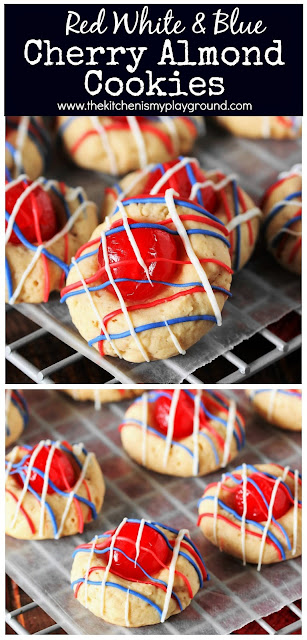 Red White & Blue Cherry Almond Cookies ~ These fun little cookies pair perfectly with those 4th of July fireworks!   www.thekitchenismyplayground.com
