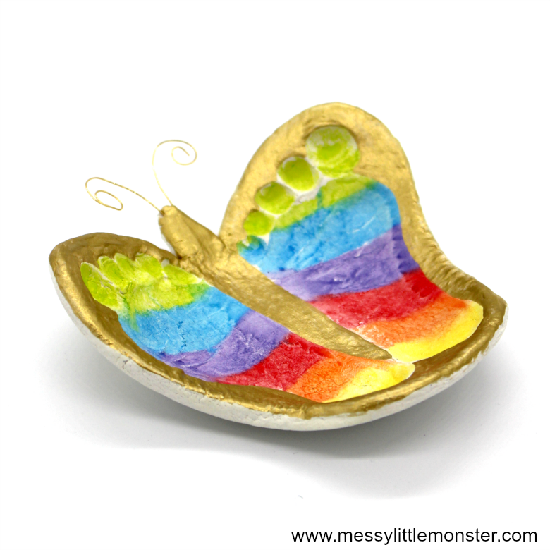 clay crafts for kids - butterfly footprint ring dish