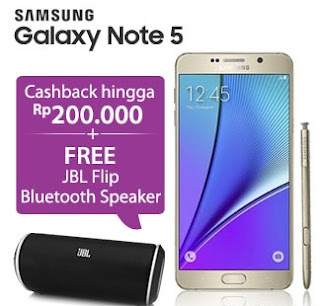 Samsung Galaxy Note 5 promo cashback sampai Rp 200 ribu dan bonus JBL Flip Bluetooth Speaker