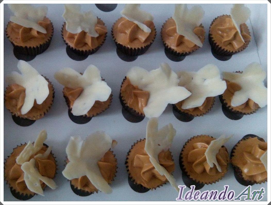 Cupcakes dulce leche mariposas chocolate