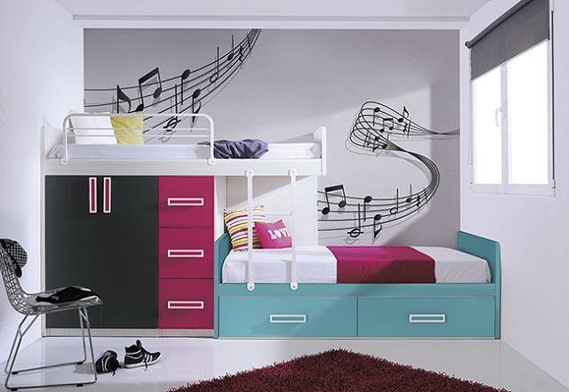 Dormitorios juveniles tem ticos de m sica for Vinilos juveniles chico