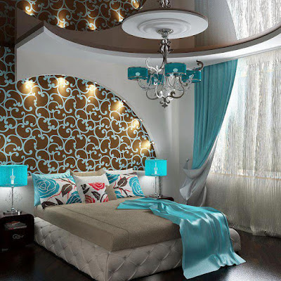 Modern bedroom sets with luminous drawings on wall behind bed