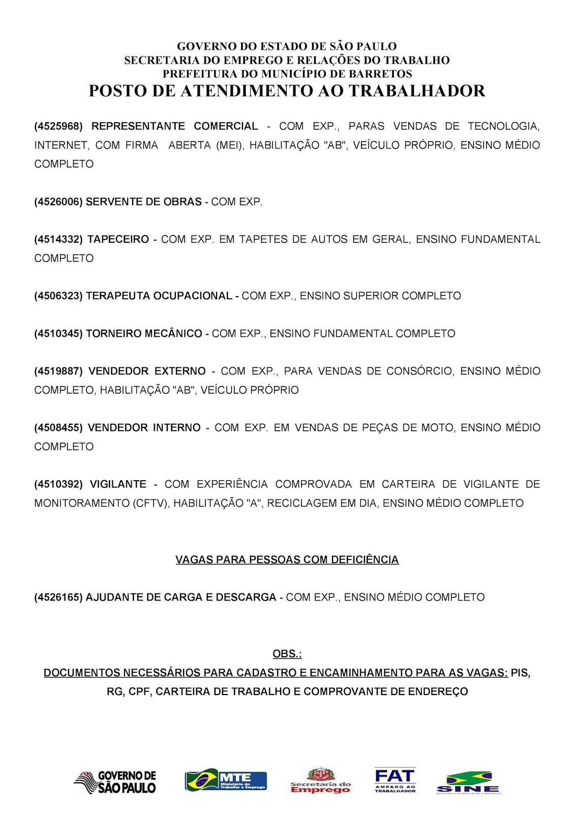 VAGAS DE EMPREGO DO PAT BARRETOS-SP PARA 06/06/2018 QUARTA-FEIRA - Pag.2