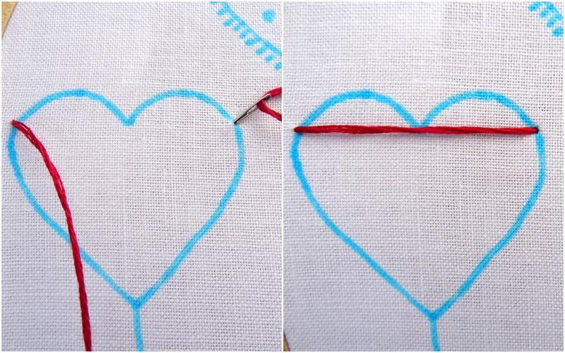 Hướng dẫn thêu trái tim màu đỏ - Hình 2