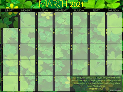 Blank March 2021 Calendar with shamrock background, yellow dates, and a Bible verse.