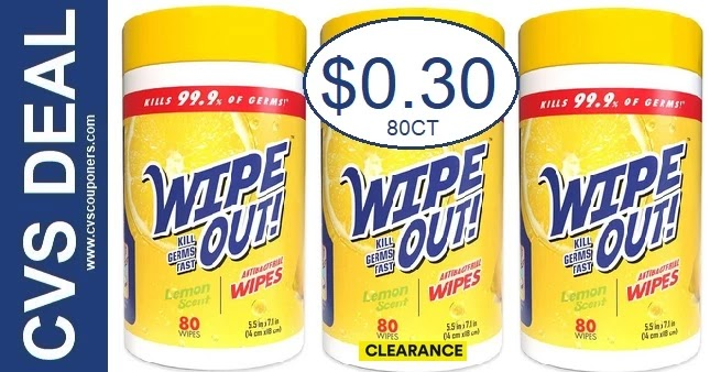 Wipe Out! Disinfectant Wipes CVS Deals