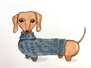 Dachshund wearing a blue sweater illustration in watercolor with dip pen details - by Amy Lamp