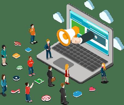 Ilustração sobre marketing digital para pequenos corretores de imóveis e imobiliárias