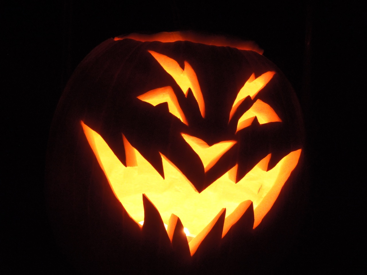 Scary halloween carved pumpkin