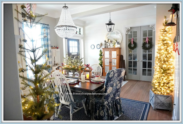 Cottage -Farmhouse -Christmas -Dining- Room -shiplap-french-country-blue&white decor-office-door-christmas-wreaths--From My Front Porch To Yours