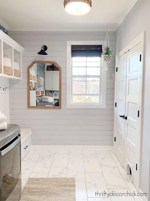 Shiplap gray wall mud room