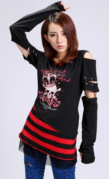 Alternative Black And Red White Long Sleeves Punk Shirt For Women