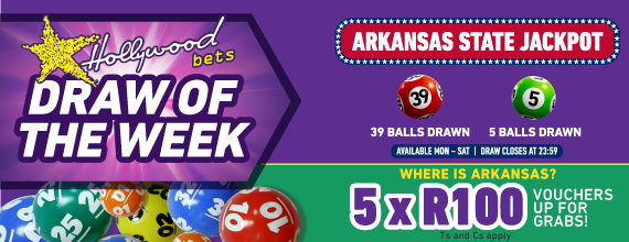 Draw of the Week - Arkansas State Jackpot - Facebook Promotion - Competition - Hollywoodbets