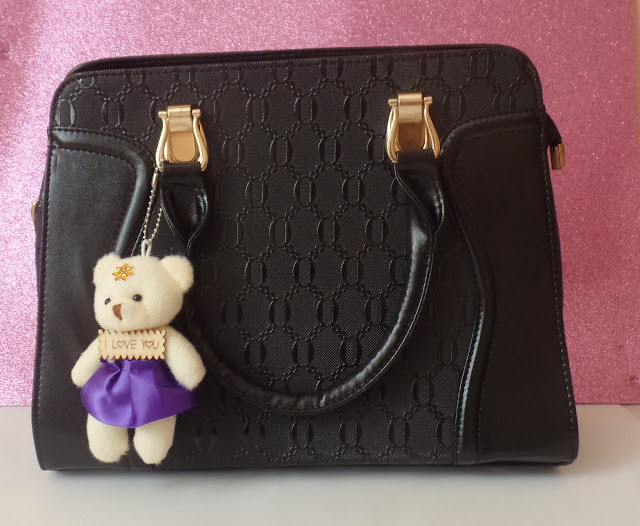 Bear Pendant Embossed PU Leather Tote