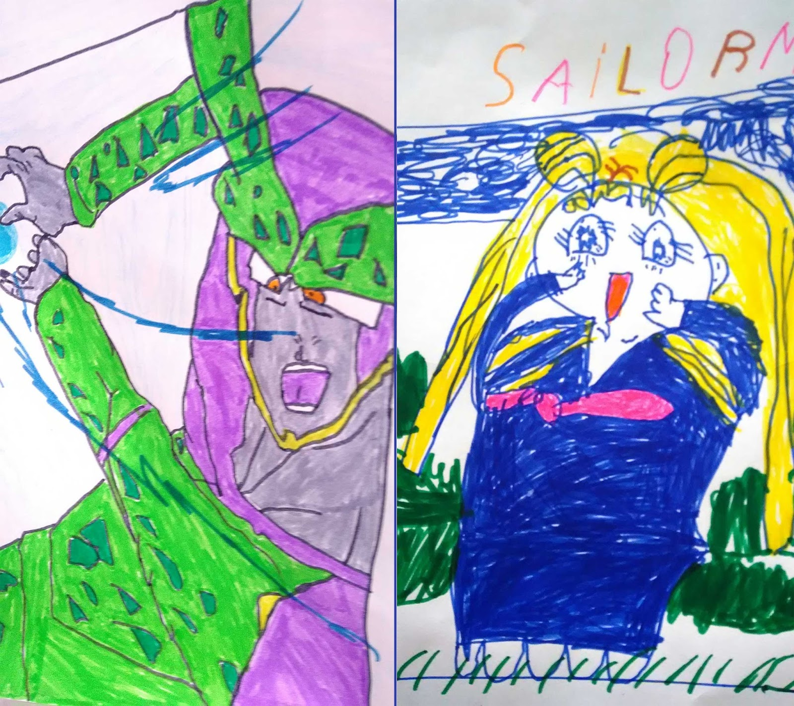 dessins enfants mang sailor moon et cell dbz
