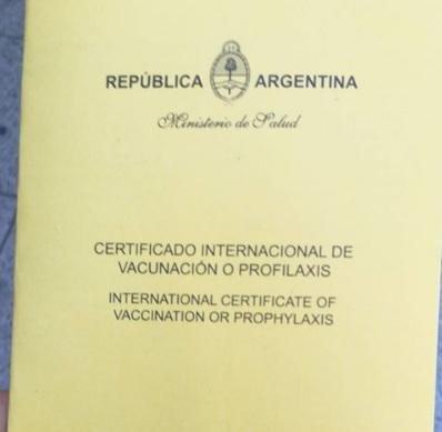 certificado de vacunación internacional contra la fiebre amarilla para viajar