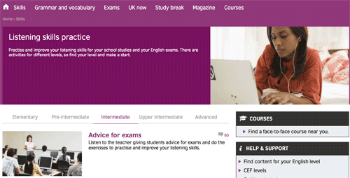 Listening skills practice on the British Council website