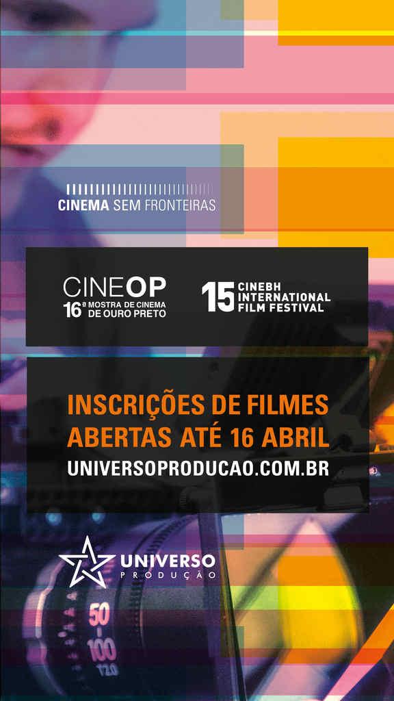 Já estão abertas as inscrições de filmes brasileiros para seleção e exibição na 16ª CineOP - Mostra de Cinema de Ouro Preto, que acontece de 23 a 28 de junho, e na 15ª CineBH – BH International Film Festival, prevista para 28 de setembro a 03 de outubro de 2021.