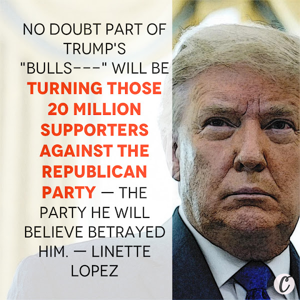 No doubt part of Trump's 'bulls---' will be turning those 20 million supporters against the Republican party — the party he will believe betrayed him. — Linette Lopez, Business Insider Columnist