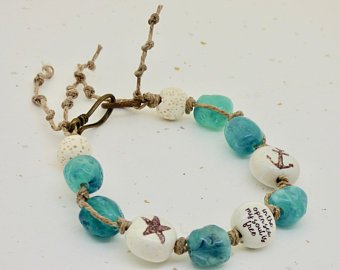 in the open sea my soul is free bracelet by BayMoonDesign