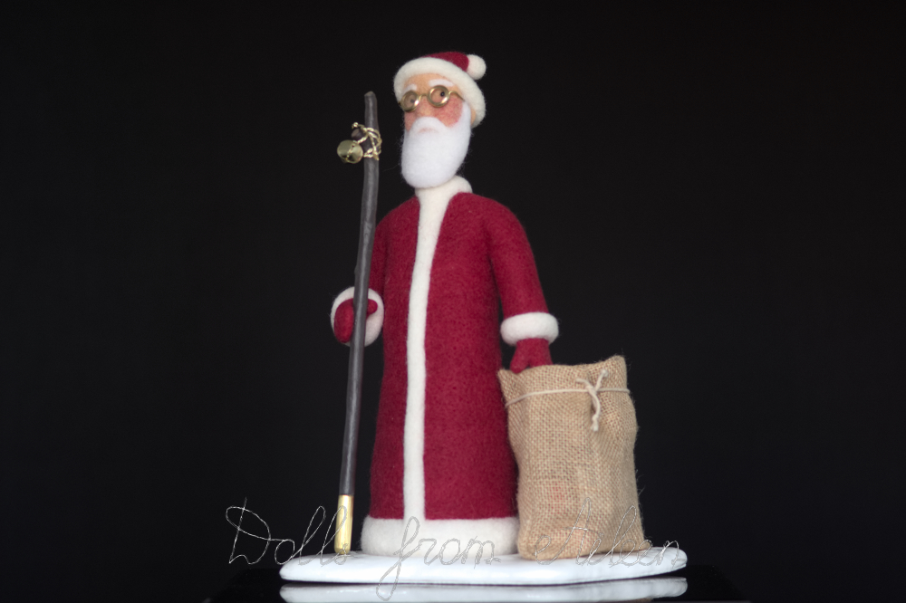 OOAK needle felted Santa Claus doll, angle view
