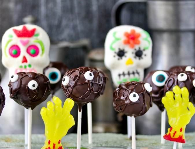 Monster Cake Pops with jelly hands