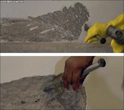 removendo reboco umido